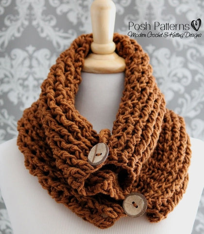 crochet pattern button cowl