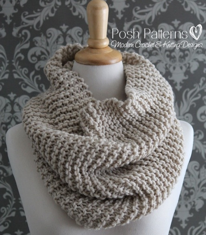 Knitting Pattern Easy Knit Cowl Pattern Posh Patterns