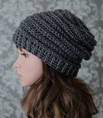 Ladies Slouchy Hat - Dark Gray Silver Sparkle - Ready to Ship