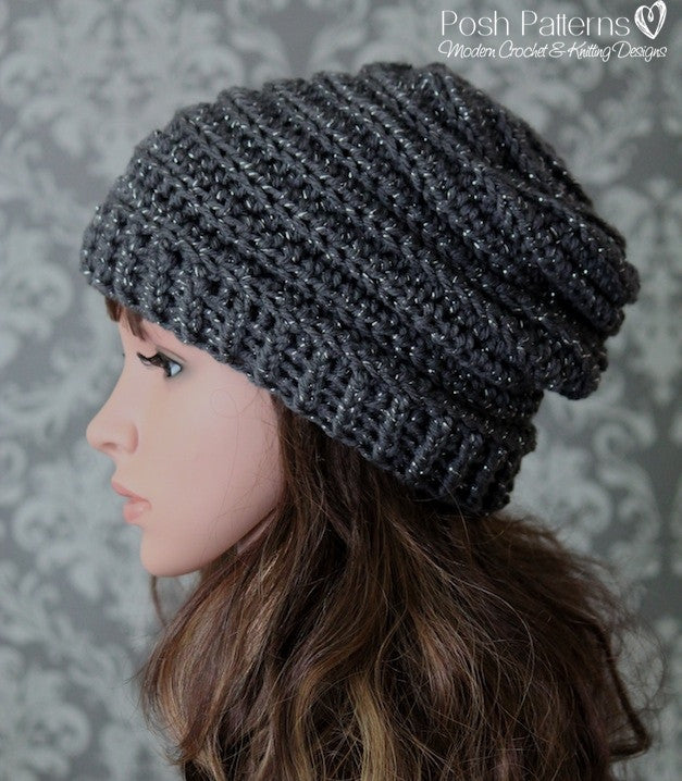 Crochet Pattern - Crochet Slouchy Hat Pattern - Horizontal Ribbed ... 2fde515c352