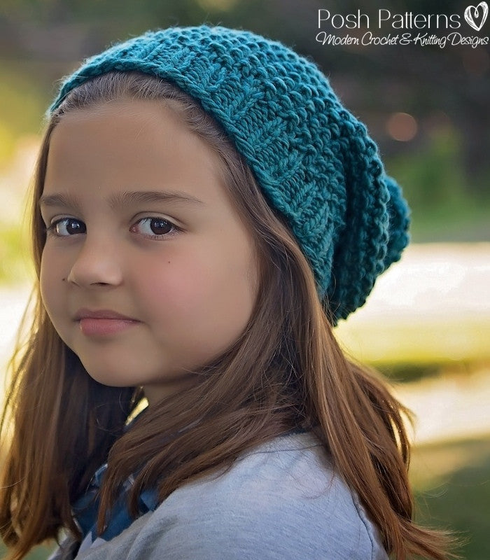 Knitting Pattern - Knit Slouchy Hat Pattern Seed Stitch