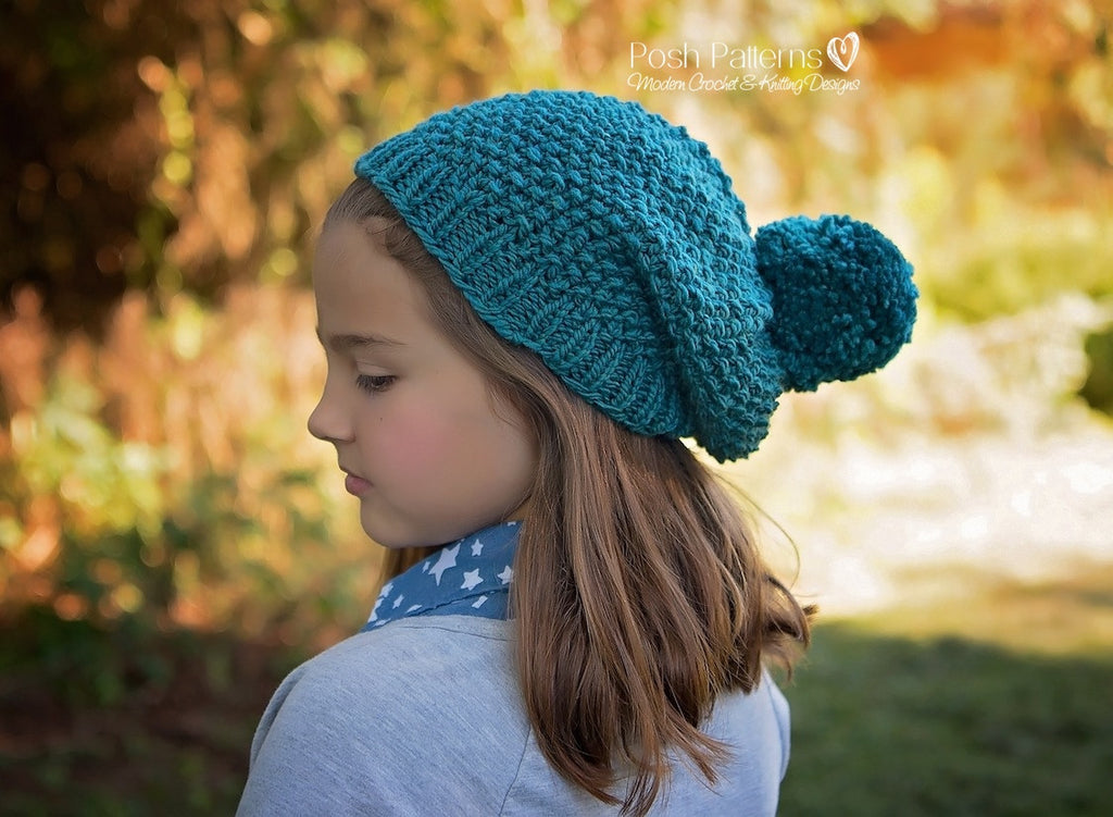 Knitting Pattern Knit Slouchy Hat Pattern Seed Stitch