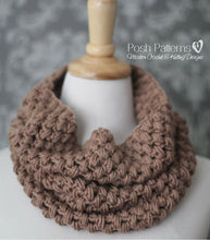 Load image into Gallery viewer, puff stitch cowl crochet pattern