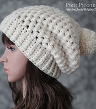 Load image into Gallery viewer, puff stitch crochet hat pattern