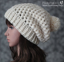 Load image into Gallery viewer, puff stitch slouchy hat crochet pattern