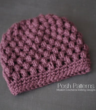 Load image into Gallery viewer, puff stitch messy bun hat crochet pattern