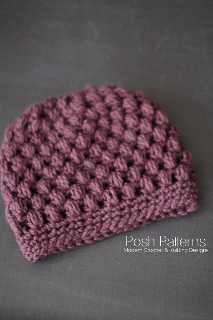 Puff Stitch Crochet Messy Bun Hat Pattern