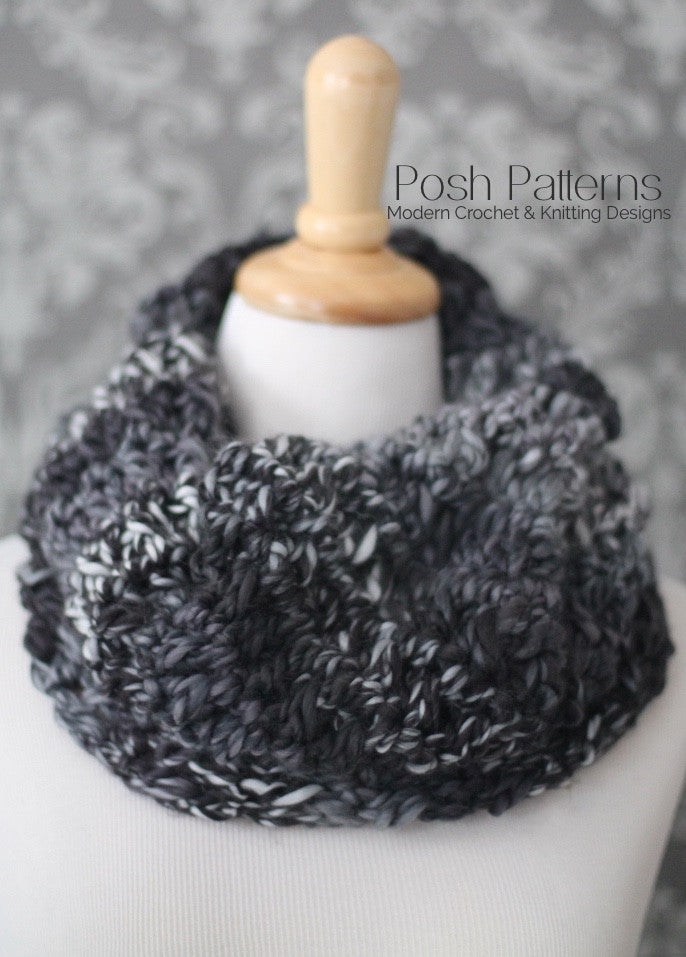 Textured Crochet Cowl Pattern Infinity Scarf