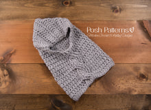 Load image into Gallery viewer, crochet cowl pattern with cables