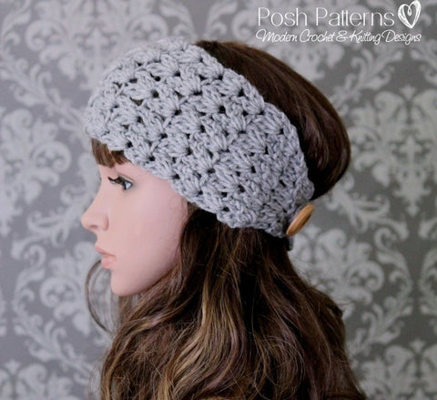 Crochet Pattern - Elegant Button Headband