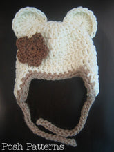 Load image into Gallery viewer, bear earflap hat crochet pattern