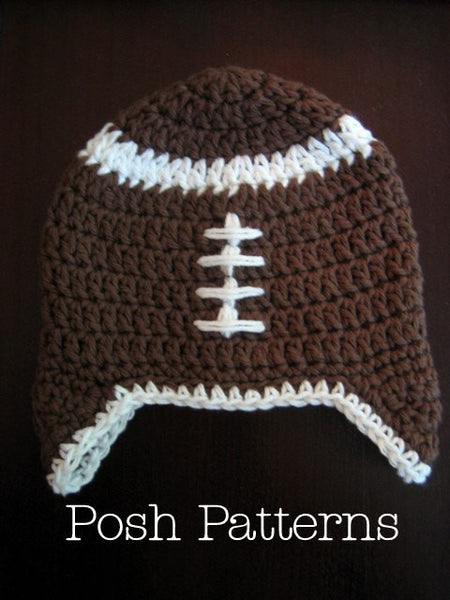 crochet football beanie pattern