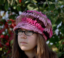 Load image into Gallery viewer, crochet pattern slouchy newsboy