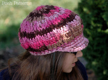 Load image into Gallery viewer, crochet slouchy newsboy hat pattern