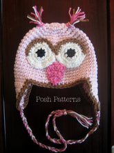 Load image into Gallery viewer, owl hat crochet pattern