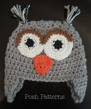 Load image into Gallery viewer, owl earflap hat crochet pattern