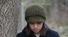 Load image into Gallery viewer, ribbed newsboy hat pattern