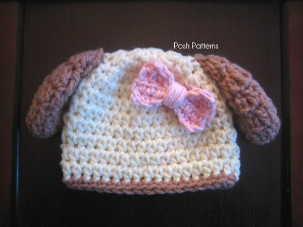 girls puppy hat crochet pattern