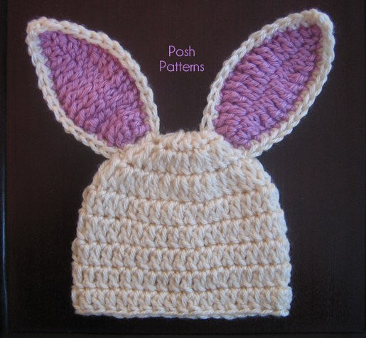 Crochet Bunny Hat With Flower Pattern : Crochet PATTERN - Crochet Bunny Hat Pattern