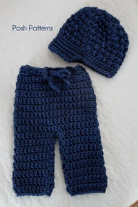 Crochet PATTERN - Crochet Newsboy Hat and Baby Pants Pattern