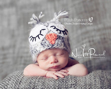 Load image into Gallery viewer, baby owl crochet hat pattern
