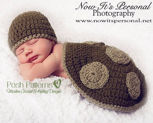 crochet baby turtle hat and shell