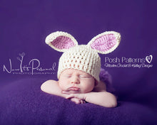 Load image into Gallery viewer, bunny hat crochet pattern