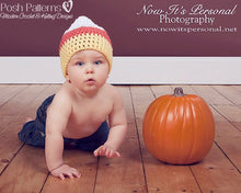 Load image into Gallery viewer, candy corn hat crochet pattern
