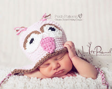 Load image into Gallery viewer, baby owl hat pattern