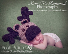 Load image into Gallery viewer, crochet moose hat pattern