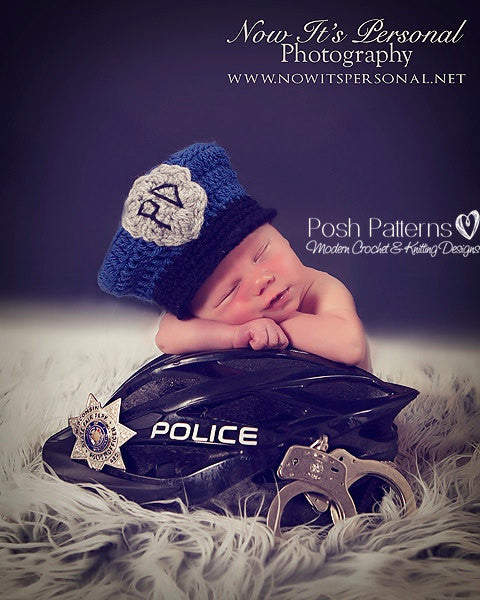 crochet police man hat pattern