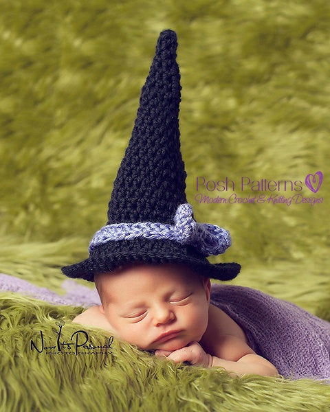 Crochet Pattern For Baby Witch Hat : Crochet PATTERN - Newborn Baby Witch Hat Crochet Pattern