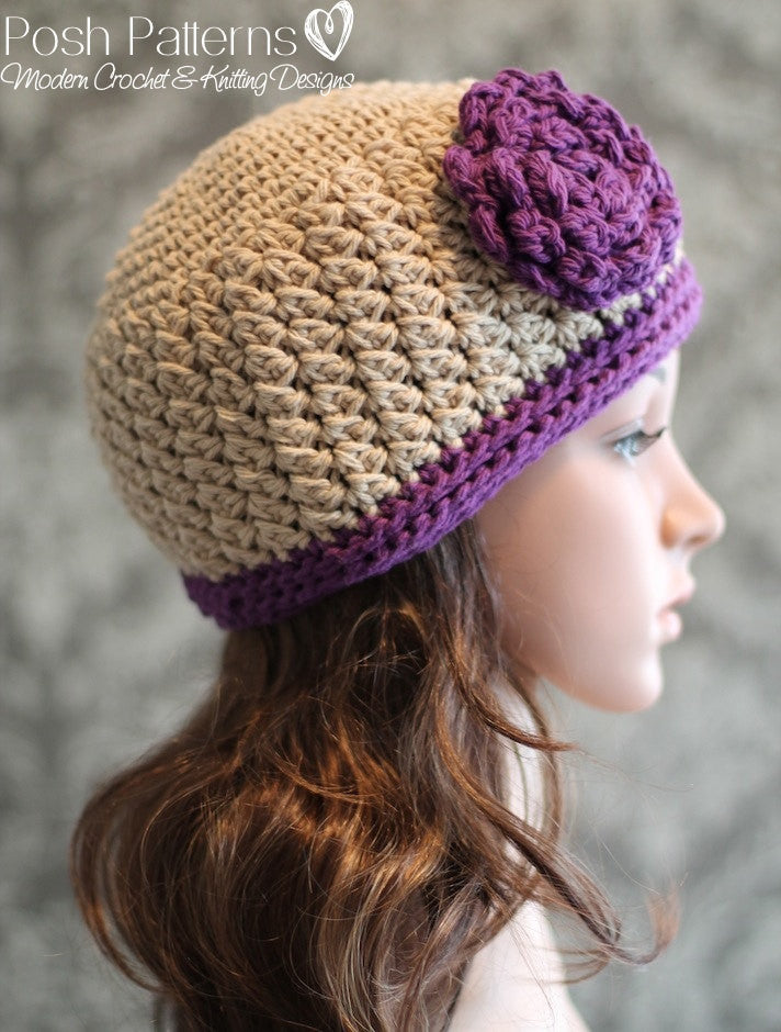 crochet beanie flower pattern