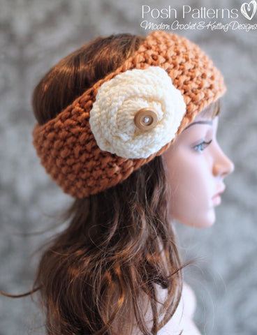 headband knitting pattern flower