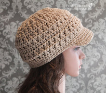 Load image into Gallery viewer, cable crochet newsboy hat pattern
