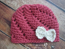 Load image into Gallery viewer, crochet hat bow pattern