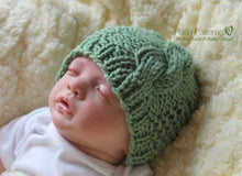 Load image into Gallery viewer, baby cable hat knitting pattern