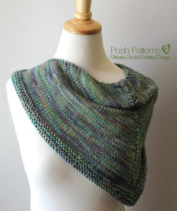 Knitting PATTERN - Knit Triangle Scarf Pattern - Cowl