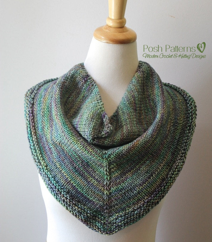 Triangle Knit Scarf Pattern : Knitting PATTERN - Knit Triangle Scarf Pattern - Cowl