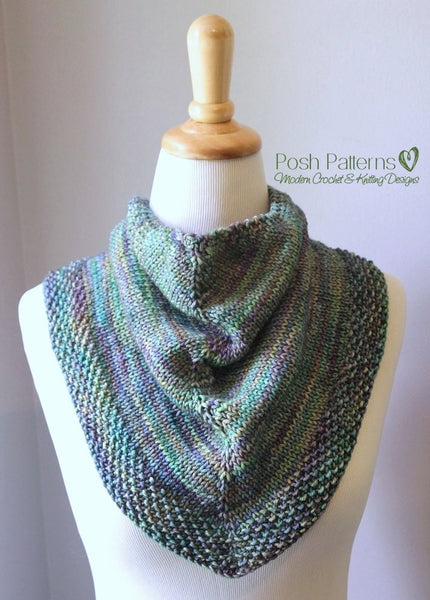 Knitting Patterns For Triangular Scarf : Knitting PATTERN - Knit Triangle Scarf Pattern - Cowl