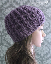 Load image into Gallery viewer, easy ribbed beanie knitting pattern