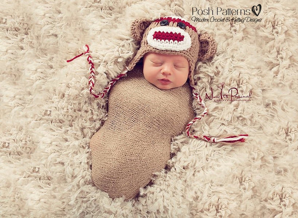 sock monkey hat crochet pattern