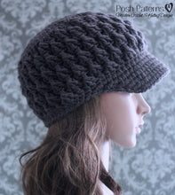 Load image into Gallery viewer, newsboy hat crochet pattern