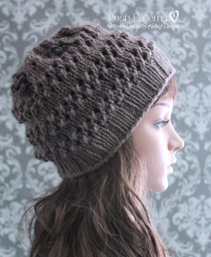 Knitting PATTERN - Eyelet Lace Knit Hat Pattern