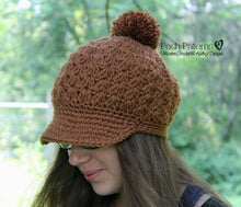 Load image into Gallery viewer, newsboy crochet hat pattern