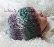 Load image into Gallery viewer, bow stitch hat knitting pattern