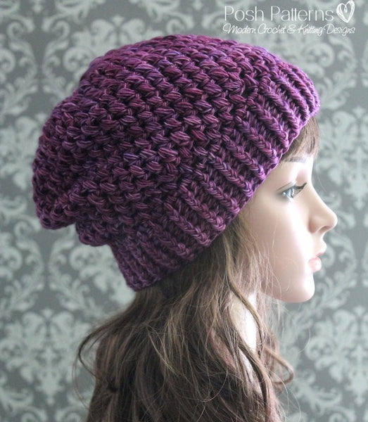 Crochet Patterns Puff Stitch Slouchy Hat Pattern