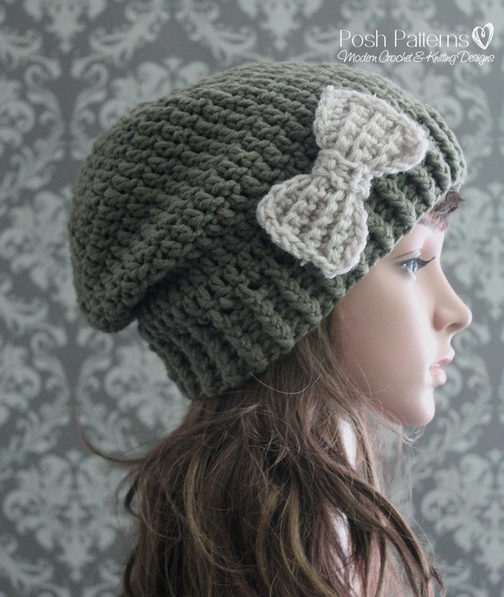 Crochet PATTERNS - Crochet Slouchy Hat and Bow Pattern