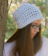 Load image into Gallery viewer, lace slouchy beanie crochet pattern