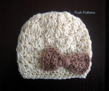Load image into Gallery viewer, crochet hat and bow pattern